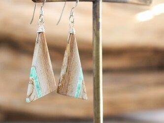 Triangle Variscite earrings ユタ州産バリサイトのピアス/イヤリング SV925の画像