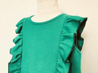 ▽鮮やかグリーン フリルワンピース 90-95▽の画像