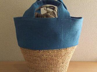 マダガスカル産ラフィアとリネンの巾着丸底バケツバッグ  (  ターコイズブルー  )の画像