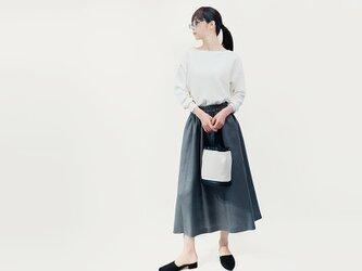 リネン100% グレー ロングスカート ●HELENA-GRAY●の画像