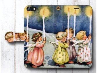 【小さな天使、蝋燭】スマホケース手帳型 全機種 対応 絵画 人気 プレゼント iPhoneXRの画像