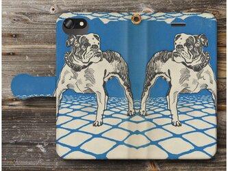 【Moriz Jung ブルドッグ】スマホケース手帳型 全機種 対応 絵画 人気 プレゼント iPhoneXRの画像