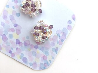 紫陽花と雨粒 ピアスの画像
