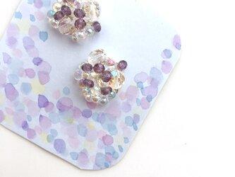 紫陽花と雨粒 イヤリングの画像