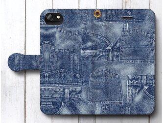 【デニム ポケット】スマホケース手帳型 全機種対応 絵画 人気 プレゼント iPhoneXRの画像