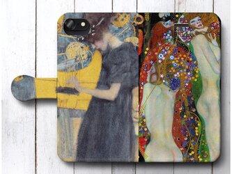 【クリムト水蛇1&music 1】スマホケース手帳型 全機種対応 絵画 人気 プレゼント iPhoneXRの画像