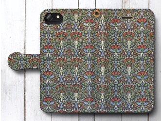 【ウィリアム モリス 花の鉢】スマホケース手帳型 全機種 対応 絵画 人気 プレゼント iPhoneXRの画像