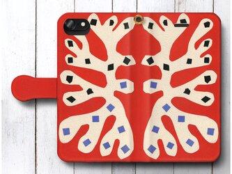 【アンリ マティス 赤の背景に白の海藻】スマホケース手帳型 全機種対応 絵画 人気 プレゼント iPhoneXRの画像