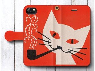 【レトロポスター 東ヨーロッパ 猫】スマホケース手帳型 全機種対応 絵画 人気 プレゼント iPhoneXRの画像