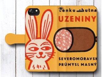 【アンティーク 北欧デザイン うさぎ 骨つき肉 レトロ】スマホケース手帳型 全機種 対応 人気 プレゼント iPhoneXRの画像