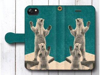 【北欧デザイン 白くま レトロ】スマホケース手帳型 全機種対応 絵画 人気 プレゼント iPhoneXRの画像