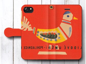【レトロ 北欧デザイン 鳥 チェコ ロシア ハンガリー】スマホケース手帳型 全機種 対応 絵画 プレゼント iPhoneXRの画像