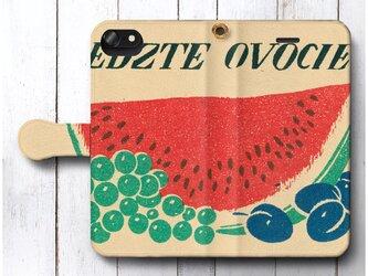 【アンティーク 北欧デザイン レトロ スイカ】スマホケース手帳型 全機種対応 絵画 人気 プレゼント iPhoneXRの画像