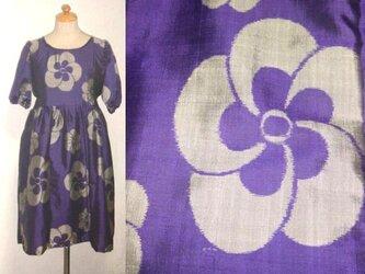 Sold Out銘仙リメイク♪ねじり梅が可愛い銘仙ワンピース・ボリューム袖♪ハンドメイド・紫・シルクの画像