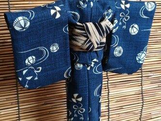 27cmドール浴衣 和紺の毬の画像