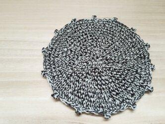【送料込み】引き揃え編みのコースター1枚*B(アボカド×アッシュベージュ)の画像
