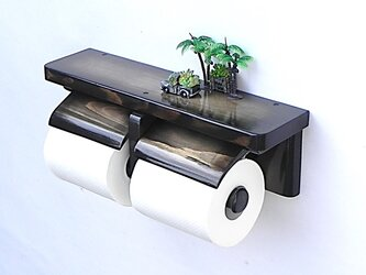 木製トイレットペーパーホルダー Ver.13(ウォルナット グラデーション)の画像