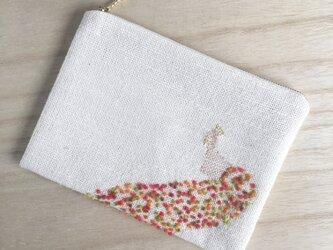 鳳凰の手織りポーチ 赤 コットンの画像