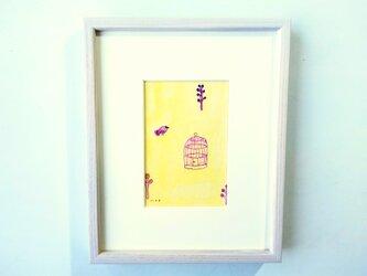 「黄色い朝に」イラスト原画/額縁入りの画像