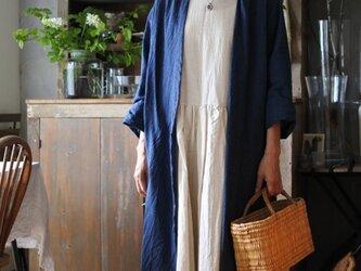 綿麻グレンチェックコーディガン ブルーの画像