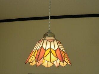 ペンダントライト・ピンクオレンジ(ステンドグラス)天井のおしゃれガラス照明 Lサイズ・(コード長さ調節可)30の画像