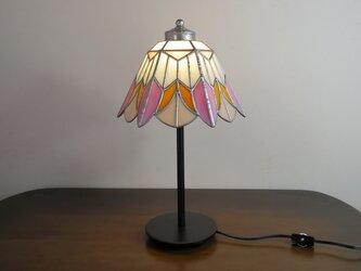 ピンク・オレンジのお花(ステンドグラスランプ)ガラス照明・  Lサイズ・30の画像