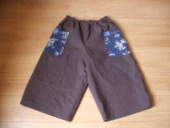 たばね熨斗(のし)の藍染ポケットのガウチョパンツ 木綿の画像