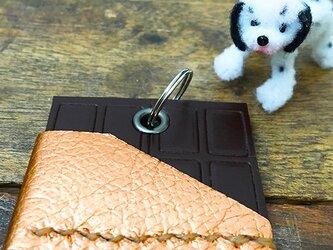 【受注制作】板チョコ 本革 犬の鑑札票ケース タグカバー ★ CHOCOLATE 両ポケット 自転車キーホルダー 手縫いの画像
