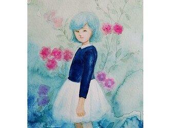 水彩・原画「薔薇と少女」の画像