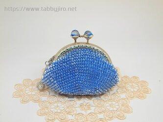 ビーズ編みのがま口-リフレクション(青)の画像