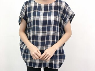 en-enリネンチェック・コクーンプルオーバー(麻,ハンドメイド,婦人服)の画像