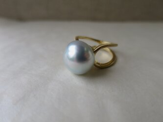 K18 Baroque pearl double bands Ringの画像