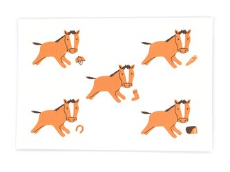 馬と馬具とにんじんと(ポストカード3枚セット)の画像