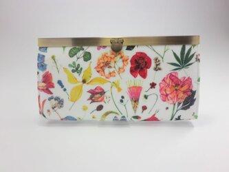素敵な花柄 直線がま口長財布 リバティ フローラルイヴ ビニールコーティングの画像