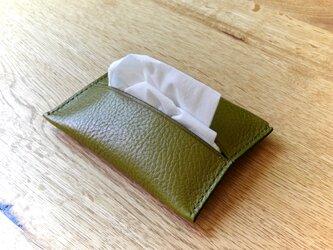 イタリアンレザーのポケットティッシュケース/オリーブの画像