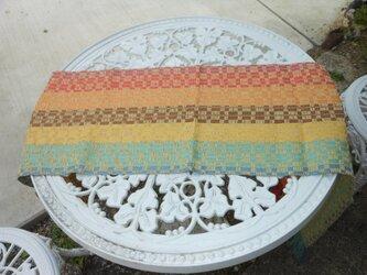 手織 レインボウカラー リネン テーブルセンター ロングタイプ 明るくさわやかの画像