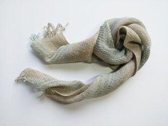 綾織 ペンプコットン ショートストール ミントグリーングラデーションの画像