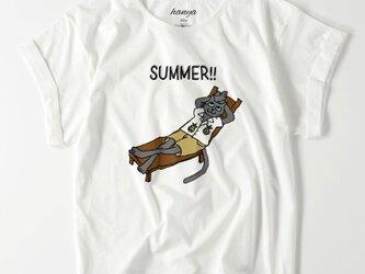 サマーキャット オーバーサイズTシャツ 猫 イラスト ゆったり ゆるかわ ロシアンブルー グレー猫 レディースの画像