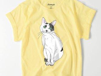 てん おすわり オーバーサイズTシャツ 猫 イラスト ゆったり ゆるかわ 白黒猫 保護猫 レディースの画像