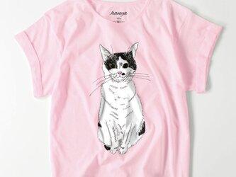 みーこ おすわり オーバーサイズTシャツ 猫 イラスト ゆったり ゆるかわ 白黒猫 保護猫 レディースの画像