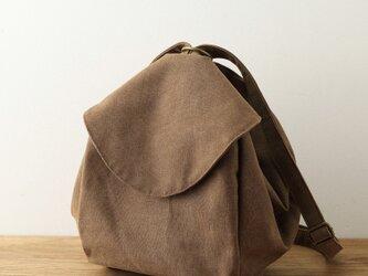 NEW!茶色 帆布リュック 特別なファスナーデザインの画像