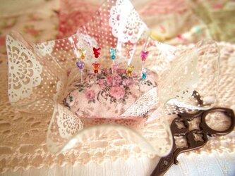 ◆◇ガラス飾りの待ち針10本セット(お花畑セット)◇◆の画像