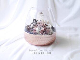 花瓶の中の花束アレンジ(ピンクゴールド)*プリザーブドフラワーの画像