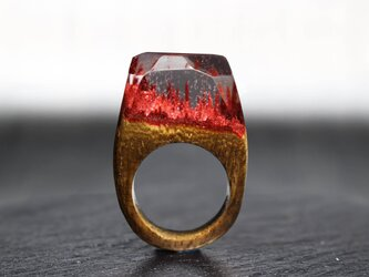 【送料無料】Deep Red Mountain ~Resin Wood Ring~の画像