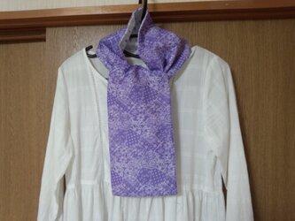 【手縫い】Wガーゼ・スカーフ☆16×110㎝☆紫色ターコイズ柄&水色/紫しずく柄☆春夏秋マフラー☆ギフトの画像