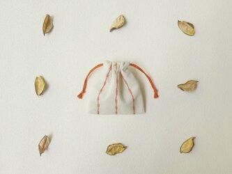 刺し子ストライプのミニ巾着の画像