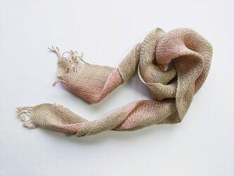 綾織 ペンプコットン ショートストール 桃色グラデーションの画像