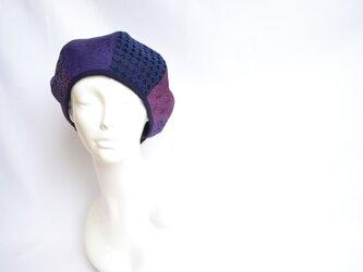 着物地×レースのベレー帽:紫×ネイビー 着物リメイク/国内送料無料/1905mb01の画像
