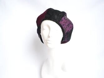 着物地×レースのベレー帽:黒×紫 着物リメイク/国内送料無料/1905mb02の画像