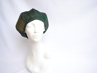 着物地×レースのベレー帽:緑・大島紬 着物リメイク/国内送料無料/1905mb03の画像